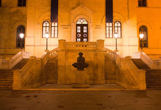 Baroque building - Faculty of law. Night shot of old Baroque building - Faculty of law stock photos