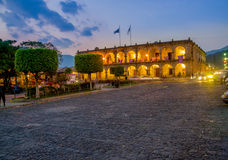 Baroque building in main square plaza Antigua Royalty Free Stock Images