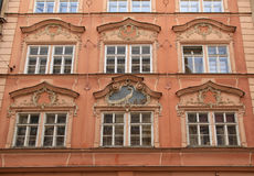 Baroque building with ornate windows in Prague, Czech Republic Royalty Free Stock Photos