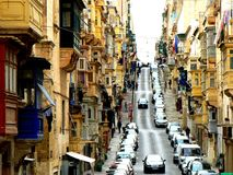 Bottom End of Republic Street, Valletta, Malta. The baroque capital of Malta, Valletta boast steep streets with classic architecture. This is at the bottom end stock images