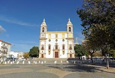 Baroque Carmo Church Igreja do Carmo in Largo do Carmo, Faro, Algarve region in southern Portugal, Europe. The Igreja do Carmo with a spectacular Baroque faç royalty free stock photography