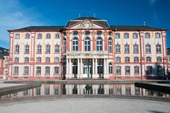 Baroque castle  Bruchsal with water reflection Royalty Free Stock Photography