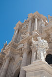 Baroque Cathedral. Cathedral on the island of Ortygia in Syracuse, Sicily Royalty Free Stock Image