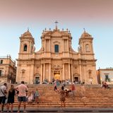 Baroque Cathedral at sunset in Noto, Sicily Stock Image