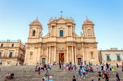 Baroque Cathedral at sunset in Noto, Sicily Stock Photo
