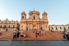 Baroque Cathedral at sunset in Noto, Sicily Royalty Free Stock Photography