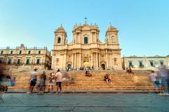 Baroque Cathedral at sunset in Noto, Sicily Stock Images