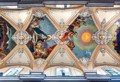 Baroque ceiling Basilica della Collegiata, Catania, Sicily, Italy. Baroque ceiling of the Collegiata of Santa Maria dell'Elemosina / Basilica della Collegiata in Royalty Free Stock Images