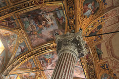 Baroque ceiling with golden decorations of Santissima Annunziata Royalty Free Stock Images