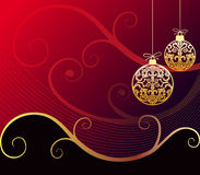 Baroque christmas. Christmas balls with gold baroque ornaments on a red background and space for your text, logo or design, all elements are on separate for easy Royalty Free Stock Images