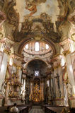 Baroque church. Interior of the Church of St. Nicholas in Mala Strana, in Prague Stock Photos