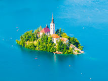 Baroque Church of the Assumption of Saint Mary on Bled Island, Lake Bled, Julian Alps, Slovenia, Europe. Aerial view Stock Photos