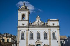 Baroque church facade with one bell tower missing, Salvador, Bahia, Brazil. Church of Sao Pedro, Largo Terreiro de Jesus, Salvador, Bahia, Brazil royalty free stock image