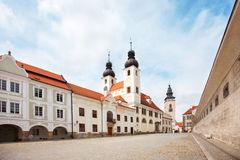 The Baroque Church of the Name of Jesus in Telc, Czech Republic. Unesco city Stock Photos