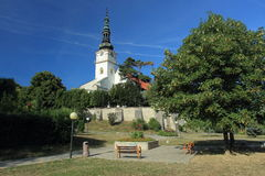Baroque church in Nove Mesto nad Vahom. The fortified Roman-Reneissance-Baroque Church of Virgin Mary in Nove Mesto nad Vahom, Slovakia Stock Photos