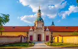 Baroque Church of Our Lady Victorious at Bila Hora in Venio Abbey - Benedictine Monastery, Prague, Czech Republic.  royalty free stock images