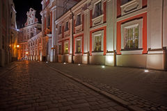 Baroque church in Poznan by night Stock Image