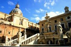 Baroque church, Pretoria square fountain. Palermo Royalty Free Stock Photo