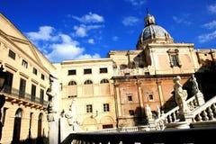 Baroque church & Pretoria square statues. Palermo Royalty Free Stock Photo