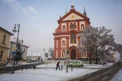 Baroque church Saint Mary, Brandys nad Labem Stara Boleslav. Czech republic in winter time, January 2013 Royalty Free Stock Image