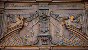 Baroque church Saint Mary, Stara Boleslav, Czech republic Svata Marie, Brandys front facade tympanum. Wooden decoration Stock Photography