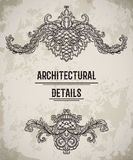 Baroque classic style border. Antique cartouche. Vintage architectural details design elements on grunge background. Stock Photos