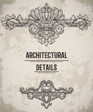 Baroque classic style border. Antique cartouche. Vintage architectural details design elements on grunge background. Royalty Free Stock Photography