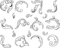 Baroque Clipart. All Curves Separately. Royalty Free Stock Images