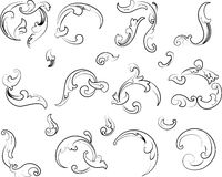Baroque Clipart. Calligraphy Style. All Curves Separately Royalty Free Stock Photo