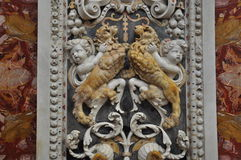 Baroque coloured marble decoration detail in a Sicilian church Stock Images