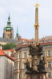Baroque column of Holy Trinity in Prague royalty free stock image