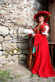 Baroque costume. Digital photo of a lady dressed with a baroque costume taken at a medieval market in germany Stock Image