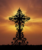 Baroque cross sunset Royalty Free Stock Photography