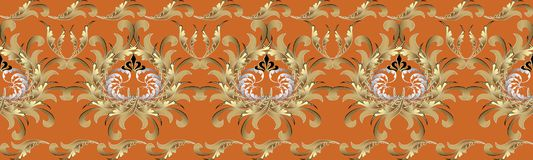 Baroque 3d flowers seamless border. Floral repetitive pattern. V. Ector flourish orange background with gold silver antique 3d flowers, scroll leaves and Baroque Royalty Free Stock Photos