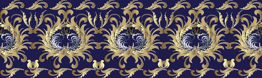 Baroque 3d flowers seamless border. Floral repetitive pattern. V. Ector flourish blue background with gold silver antique 3d flowers, scroll leaves, dots and Royalty Free Stock Photography