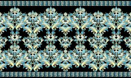 Baroque 3d seamless border pattern. Damask ornaments with blue g. Old flowers, scroll leaves. Vector floral background with meanders, greek key borders. Baroque Royalty Free Stock Photography