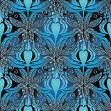 Baroque 3d seamless pattern. Vector blue background. Wallpaper. Abstract flowers, striped leaves, scrolls, swirls, vintage lattice ornaments. Modern design for Stock Photos