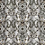 Baroque damask vector seamless pattern. Floral silver background. Wallpaper with vintage lattice flowers, scroll leaves, swirls, curves, antique baroque Stock Photo