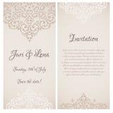 Baroque damask wedding invitation Royalty Free Stock Photo