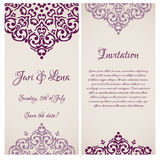 Baroque damask wedding invitation banners Royalty Free Stock Image