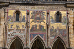 Baroque details of St. Vitus Cathedral in Prague stock images