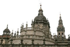 Baroque domes of Santiago de Compostela Cathedral Royalty Free Stock Photo