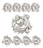 Baroque elements drawn by hand Stock Image