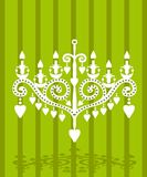 Baroque elements fake paper card. Vector silhouette lamp with hearts candle royalty free illustration