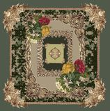 Baroque embroidery design pattern flowers camouflage royalty free illustration
