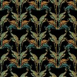 Baroque embroidery seamless pattern. Floral tapestry background wallpaper with 3d colorful vintage grunge flowers, arras scroll leaves and antique tapestry Royalty Free Stock Photography
