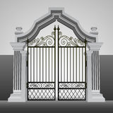 Baroque entrance gate with iron fence vector Royalty Free Stock Image