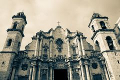Havana Cathedral, Cuba - monochrome Stock Photo