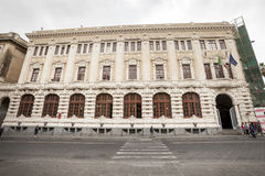 Baroque facade historic building, city center Catania, Sicily. Italy Royalty Free Stock Images
