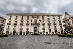 Baroque facade historic building, city center Catania, Sicily. Italy Stock Photography